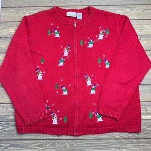 Croft & Barrow Snowman Ugly Christmas Sweater Red